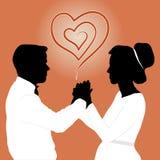 La silueta de un par feliz de recienes casados ilustración del vector