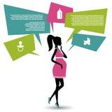 La silueta de una mujer embarazada con discurso burbujea foto de archivo
