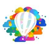 La silueta del globo del aire caliente, las nubes coloridas resume el fondo del vector Foto de archivo