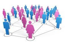 La silueta del grupo de hombres y de mujeres conectó junta por los alambres libre illustration
