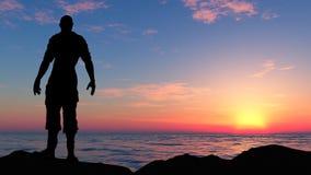 La silueta del hombre del viajero Imagen de archivo