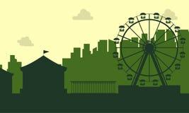 La silueta del paisaje del funfair del carnaval stock de ilustración