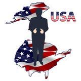 La silueta del presidente en los E.E.U.U. traza Imagen de archivo