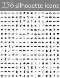 La silueta diversa del sistema de iconos planos vector el ejemplo Imagen de archivo