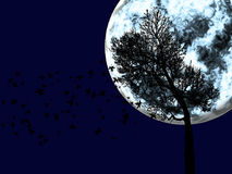 La silueta grande de la luna y del árbol en fondo Stock de ilustración
