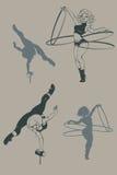 La silueta modela del artista del circo, inkpen stock de ilustración