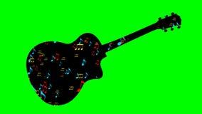 La silueta negra y el vuelo de la guitarra colorearon notas musicales dentro de la forma del instrumento musical Animación en la  stock de ilustración