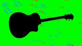 La silueta negra y el vuelo de la guitarra colorearon notas musicales en el fondo del instrumento musical Animación en verde stock de ilustración