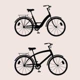 La siluetta bikes il nero 2 Fotografia Stock Libera da Diritti