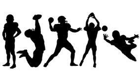 La siluetta del giocatore di football americano sta o getta o prende la palla in un salto illustrazione vettoriale