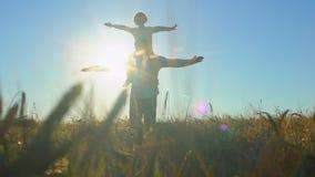 La siluetta del padre e del figlio che giocano, armi dell'aeroplano si è alzata insieme al tramonto nel giacimento di grano, camm stock footage