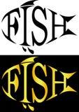 La siluetta del pesce dalle lettere pesca il logo minimalistic Immagine Stock