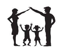 La siluetta del simbolo della famiglia Fotografia Stock Libera da Diritti
