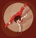 La siluetta dell'artista del circo del Pinup, inkpen equilibratura Fotografia Stock