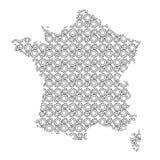 La siluetta dell'estratto del paese della mappa della Francia dall'industriale innesta il dri royalty illustrazione gratis
