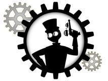 La siluetta dell'uomo dello steampunk tiene la pistola all'interno dell'attrezzo Immagini Stock