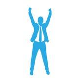 La siluetta dell'uomo di affari eccitata si tiene per mano su illustrazione di stock