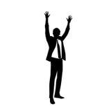 La siluetta dell'uomo di affari eccitata si tiene per mano su Fotografie Stock