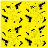La siluetta dell'uomo ed il fondo senza cuciture di crimine della pistola modellano il sito Web Fotografia Stock Libera da Diritti