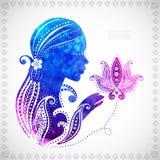 La siluetta della bella ragazza dell'acquerello con alcuno Immagine Stock