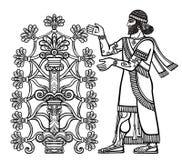 La siluetta della divinità Assyrian raccoglie i frutti da un albero fantastico royalty illustrazione gratis