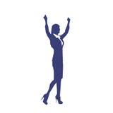 La siluetta della donna di affari eccitata si tiene per mano su illustrazione di stock