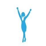 La siluetta della donna di affari eccitata si tiene per mano su royalty illustrazione gratis