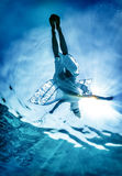 La siluetta della donna sulla superficie del mare fotografia stock