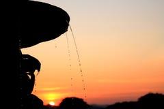 La siluetta della fontana durante Fotografia Stock Libera da Diritti