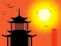 La siluetta della pagoda indica Zen Buddhism And Worship illustrazione di stock