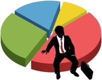 La siluetta di affari si siede il diagramma della percentuale del mercato Fotografia Stock Libera da Diritti