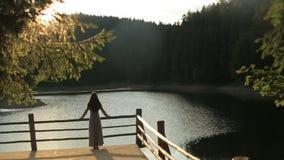 La siluetta di bella crisalide della giovane donna con capelli scuri lunghi gode del paesaggio della natura sul lago Synevir dell video d archivio