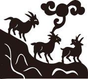 La siluetta di tre capre Fotografia Stock Libera da Diritti