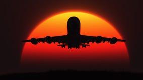 La siluetta di un aeroplano Immagine Stock