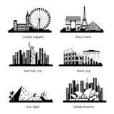 La siluetta di vettore ha messo con i panorami dei punti di riferimento famosi royalty illustrazione gratis