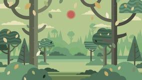 La siluetta e le montagne verdi della foresta abbelliscono il backgro astratto fotografia stock