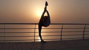 La siluetta sbalorditiva di una ragazza sottile incurva da una cordicella verticale Flessibilità incredibile del corpo allungamen stock footage