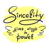 La sincerità dà le ali alla citazione motivazionale divertente scritta a mano elettrica Fotografia Stock