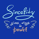 La sincerità dà le ali alla citazione motivazionale divertente scritta a mano elettrica Stampa per il manifesto d'ispirazione Fotografia Stock Libera da Diritti