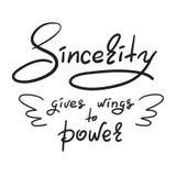 La sincerità dà le ali alla citazione motivazionale divertente scritta a mano elettrica Stampi per il manifesto d'ispirazione, la Fotografie Stock Libere da Diritti