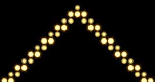 La singola freccia dorata LED accende il fondo che si muove verso l'alto video d archivio