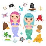 La sirène de Kawaii avec le bateau mignon de pirate de fille de kawaii de cheveux bleus et roses avec la voile, pièces d'or march illustration libre de droits