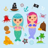 La sirène de Kawaii avec le bateau mignon de pirate de fille de kawaii de cheveux roses bleus avec la voile, pièces d'or marchent illustration stock