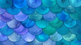 La sirena escala el fondo del squame de los pescados de la acuarela El modelo azul del mar del verano brillante con el reptilian  stock de ilustración
