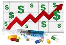 La siringa con il farmaco droga le pillole ed il grafico Illu Fotografie Stock Libere da Diritti