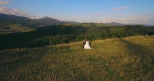 La situación de los pares en la montaña pintoresca en el bckg 4k de la salida del sol aéreo almacen de video