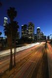 LA skyline at night Stock Photo