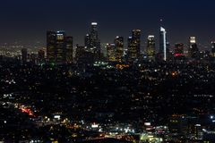 LA skyline at night royalty free stock photography