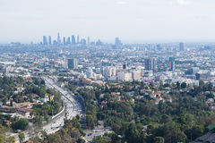 LA skyline sightseeing in Mulholland. Overlook Royalty Free Stock Image