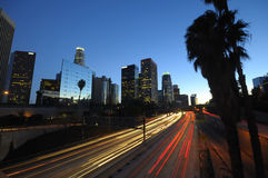 LA skyline and traffic at night Stock Images